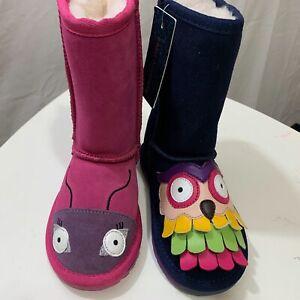EMU Australia Girls New MISMATCHED Little Creatures Suede Waterproof Boots K10