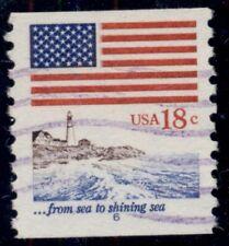 US #1891, 18¢ Flag & Lighthouse, Plate #6 single, used, VF, Scott $500.00+