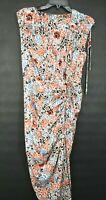 Veronica Beard Womens Teagan Silk Blend Floral Midi Dress Surplice Neck Ruched 4