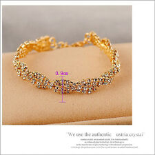 Women Girl 14K Gold Filled Jewelry bracelet gift Attractive Marquise Crystal