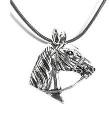 Horse Leather Women Men Necklace Pendant Jewelry Black 50 cm NEW