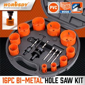 "16 PCS Bi-Metal Hole Saw Kit Hole Dozer All Purpose Professional  3/4"" to 2-1/2"""