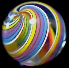 "JODY FINE HANDMADE GLASS MARBLE/1.347""-CITRUS TORNADO-TURQ.,LAVENDER,ROSE,YELLOW"