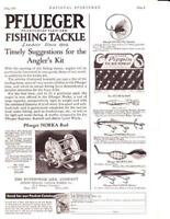 1931 Vintage ad Pflueger Fishing Tackle Noreka Reels Muskill Lures P Cabin Art