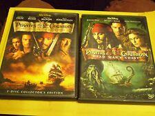 (2) Disney Pirates of the Caribbean DVD Lot: POC 1 & 2   Johnny Depp