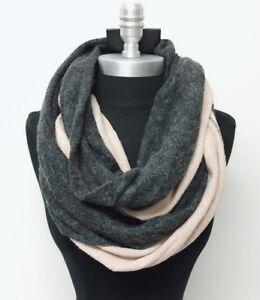 Women Winter Two Tone Knit Infinity Scarf Circle Shawl Wrap Charcoal Beige Soft