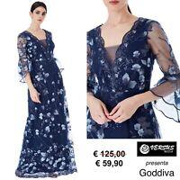 Vestito Donna Abito Lungo Ricamato Cerimonia Goddiva Maxi Dress CG-DR1418 BL