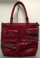 Brighton Red Leather W/silver Hardware Braided Straps Tote Style Purse