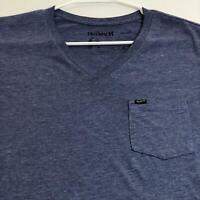 Hurley Men's Short Sleeve Pocket T Shirt Medium M Heather Blue V Neck Casual