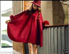 Elegant double face avec épais 100% laine fourrure de renard châle/poncho/manteau/cape violet