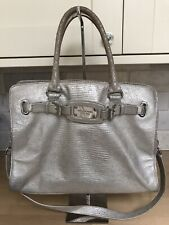 MICHAEL KORS SILVER LIMITED ED HAMILTON SATCHEL METALLIC TOTE SHOULDER CHAIN BAG