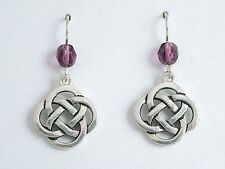Celtic Knot dangle Earrings- purple glass Pewter & Sterling Silver large Round
