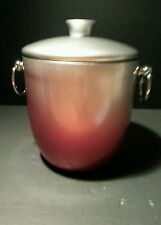 Oggi Ice Bucket Red and Silver Gray 3 Quart With Ice Tongs
