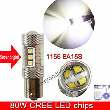 White 1156 BA15S R5W P21W Projector Backup Reversing Lights Genuine Cree 80W led