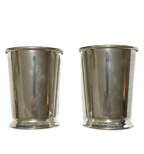 """2 Vintage Mint Julep Cup SHERIDAN Silver Plate 4"""" Tall"""