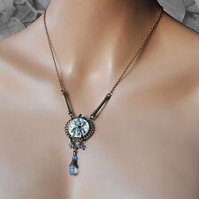 Kette *steampunk Halskette Käfer Glasperle Zahnrad bronze Zifferblatt hellblau