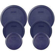 Pyrex (2) 7200-PC (2) 7201-PC (2) 7402-PC Blue Plastic Storage Lids 6 Pack New