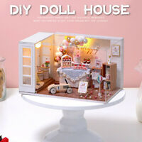 3D DIY Miniature Wooden Doll House Mini Dollhouse Kit With Furniture LED Light