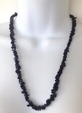 Link Onyx Black Beads Chunky Necklace Vintage 1980's Signed 14K Gold Filled