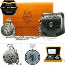 WOLF Silver Pocket Watch Gift Set Large 53mm Brass Case Chain Pouch Wood Box C83