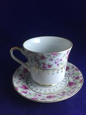 Choice Imports Tea Cup and Saucer Japan Pink Roses Gold Accents