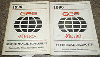 Set of 2 Factory shop Manuals for 1990 Metro electrical and Convertible repair
