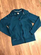 Nike Sweater Jacket Womens TEAL Full Zip Swoosh Dri Fit Ladies EUC