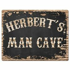 Pp1878 Herbert'S Man Cave Plate Chic Sign Home Room Garage Decor Birthday Gift