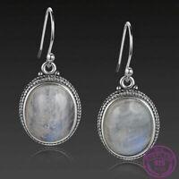 Bali Style 925 Silver Oval Natural Moonstone Drop Dangle Hook Earrings Wholesale