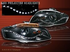 06-08 AUDI A4 LED PROJECTOR HEADLIGHTS BLACK R8 STYLE