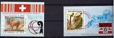 32 NICARAGUA 2blocs oblitérés,mouflon et oiseau typique1981/1983