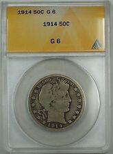 1914 Barber Silver Half Dollar, ANACS G-8
