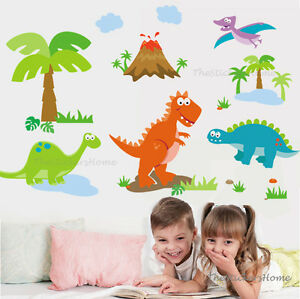 Huge Jungle DINOSAURS Dinos Wall Stickers Animal Art Decal Boys Child Nursery UK