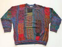 COOGI Sweater Vtg 90s Multi Color Retro Authentic Pullover Australia Cotton XL