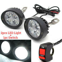 2pcs 4 LED Light Motorcycle Motorbike Headlight LED Fog Spot Lights Bulb &Switch