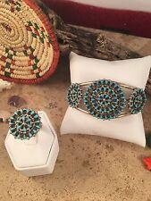 Turquoise & Sterling Silver Zuni Petit Point Bracelet & Ring Set Signed