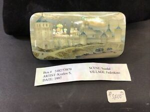 Signed Fedoskino 1997 Russian Church Landscape Hand Painted Lacquer Box MOP