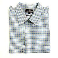 Rodd & Gunn Men's White Blue/Black Plaid Check Long Sleeve Shirt - Size M