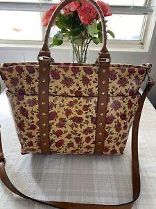 Patricia Nash TALLORIA TOTE Leather Tan Rosso Fiore NWT