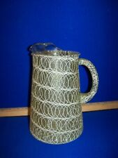 New listing Vtg Mcm Spaghetti String Pitcher Drizzle Glass Mid Century green yellow olive