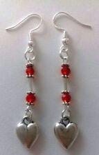 **Tibetan Silver red bead silver heart charm