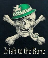 IRISH TO THE BONE Skull With Crossbones Shamrock Cap Black SS T Shirt Size XXL