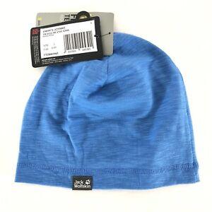 Jack Wolfskin Kids Travel Beanie Hat Anti Bacterial Prevents Odor Blue S