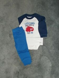 NEW Carter's Baby Boys 2 Piece Knit Outfit Size 12 Mo Bodysuit Pant Set ~ NWT