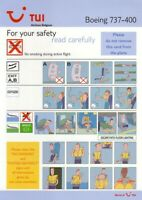 SAFETY CARD: TUI Airlines BelgiumB737-400