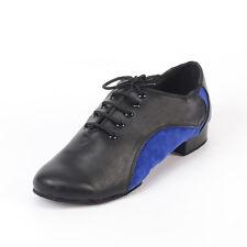 New Men's blue Latin dance shoes Genuine leather Soft bottom modern dance shoes