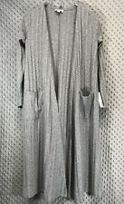 LuLaRoe Sarah Sweater Duster Solid Grey Heathered Stripes Long Sleeve New Small