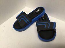 Toddler boy's flip flop sandals youth size 11.5 black blue hook & loop Crane F31