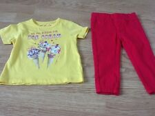 New Baby Girls Size 9-12 Months Yellow Ice Scream For Ice Cream Top & Pink Jeans