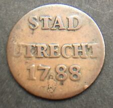 NETHERLANDS DUTCH REPUBLIC OF UTRECHT 1788 1 DUIT COIN 21.5 MM DIAM LOT REF 291